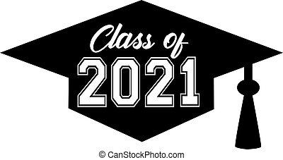 Graduating Class of 2021 inside Graduation Cap Graphic