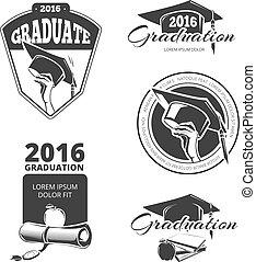 Graduating class vector badges, emblems. T-shirt design
