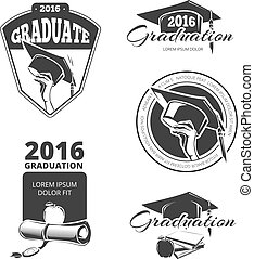 Graduating class vector badges, emblems. T-shirt design