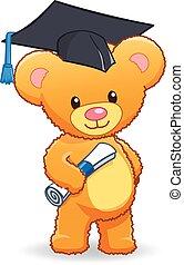 graduating cute cuddly teddy bear vector