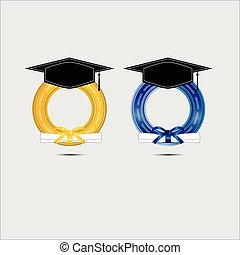 Graduating design with gold and blue