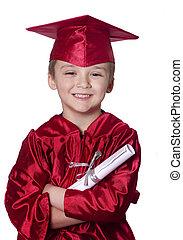 Graduating from preschool - Happy young successful boy...