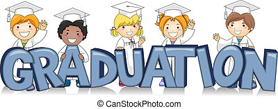 Illustration of Kids Standing Behind the Word Graduation