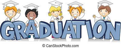 Graduating Kids - Illustration of Kids Standing Behind the...