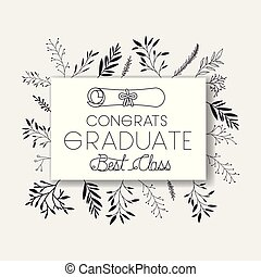 graduating lettering card with graduation diploma