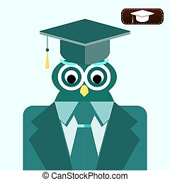 Graduating owl in suit wearing a mortar board with tassel.