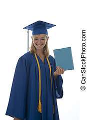 Graduating senior - Teen girl in a blue graduation gown and...