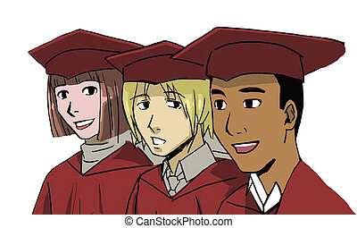 Graduating seniors - Three diverse students are graduating...