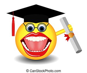 Graduating Smiley - This illustration features a happy...