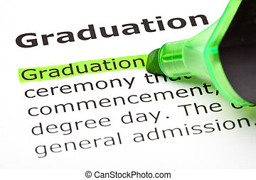 'graduation', ハイライトした, 中に, 緑