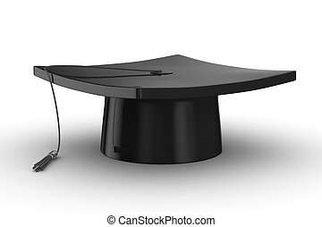 graduation., 隔離された, 3d, 白 の イメージ, 背景