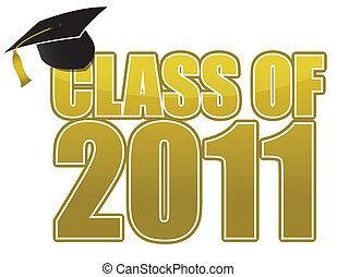 Graduation 2011 cap isolated on white background.