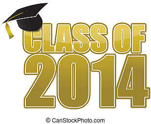 Graduation 2014 in gold isolated over white