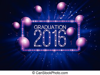 Graduation 2016 class of, luxury design for the graduation party poster, flyer.