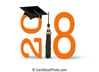 graduation 2018 black and orange cap and tassel - graduation...
