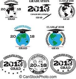 Graduation 2018 vector flat emblem, badge set