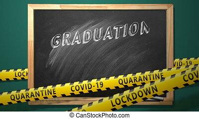 Lettering GRADUATION 2021 on blackboard. Congratulation graduates. New normal concept.