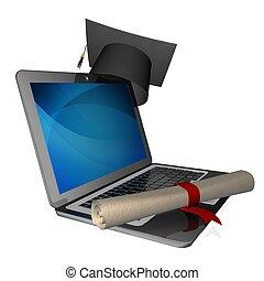 graduation - 3D Illustration of a Graduation Cap and Diploma...