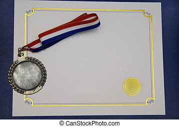 A Certificate and a gold medal on a blue pad - concept of graduation