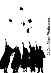 Graduation - A Silhouette of Graduates Tossing their Caps...