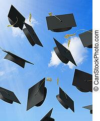 Graduation - A skyfull of mortar boards.
