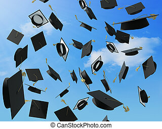 Graduation - A skyfull of mortar boards.