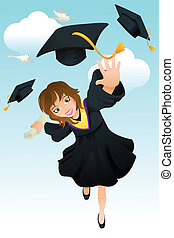Graduation - A vector illustration of a happy student ...