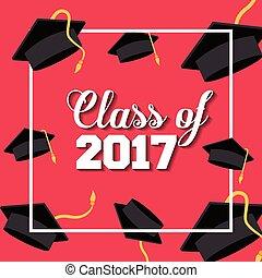 graduation achievement design - card of class 2017 with...