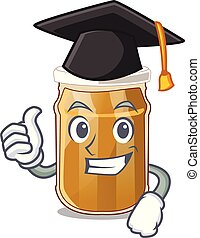 Graduation almond butter on a cartoon table