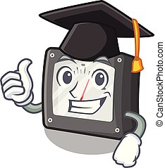 Graduation ampere meter in the cartoon shape vector illustration
