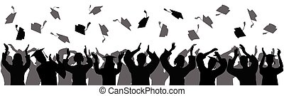 Graduation at university, college. Crowd of graduates in mantles, throws up square academic caps. Silhouettes, vector illustration