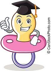 Graduation baby pacifier character cartoon
