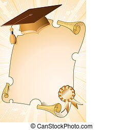 Graduation background with cap and diploma, element for...
