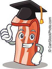 Graduation bacon character cartoon style