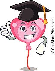 Graduation ballon heart character cartoon