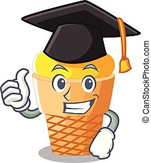 Graduation banana ice cream isolated on mascot