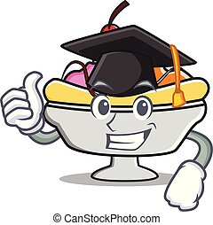 Graduation banana split character cartoon vector...