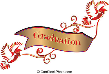 Graduation banner with doves and mortars