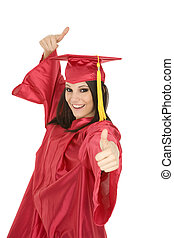 Graduation - Beautiful Caucasain girl in gratuation gowns...