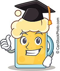 Graduation beer character cartoon style