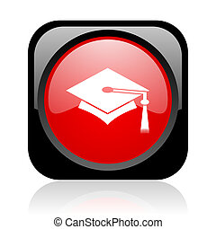 graduation black and red square web glossy icon