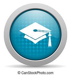 graduation blue circle web glossy icon