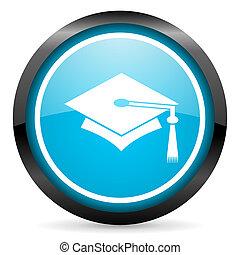 graduation blue glossy circle icon on white background