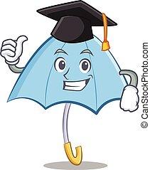Graduation blue umbrella character cartoon