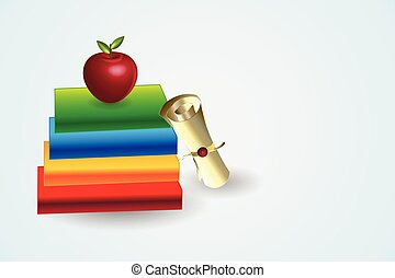Graduation books and certificate award vector
