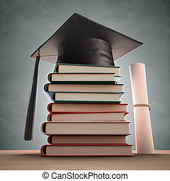 Graduation Books - Graduation cap over the pile of books ...
