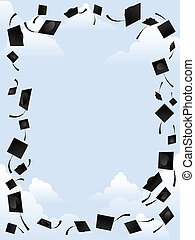 Graduation border - Border of graduation caps thrown into...