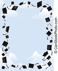 Graduation border - Border of graduation caps thrown into...