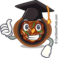 Graduation bulgogi in a the bowl cartoon