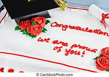 Graduation cake with school cap and tassel